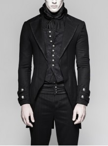 Fake Two-Piece Front Chest Splice Jacquard Retro Metal Button Black Punk Coat