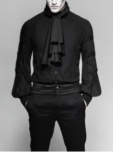 High Collar Front Chest Flounce Metal Button Pleated Lantern Sleeve Black Gothic Shirt