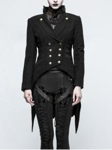 High Collar Front Metal Button Decoration Hasp Belt Big Wave Hem Black Punk Worsted Long Coat