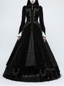 Stand-Up Collar Front Chest Decals Flare Sleeve Back Lace-Up Big Wave Hem Black Gothic Velveteen Coat