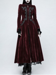 Stand-Up Collar Front Chest Decals Flare Sleeve Back Lace-Up Big Wave Hem Wine Red Gothic Velveteen Coat