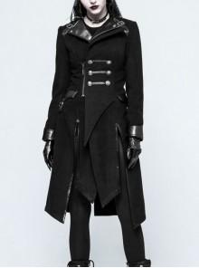 Stand-Up Collar Front Metal Button Decoration Long Sleeve Irregular Hem Black Punk Coat