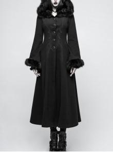 Fur Collar Front Retro Metal Button Ribbon  Decoration Back Lace-Up Black Gothic Long Coat