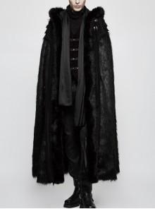 Front Metal Retro Button Decals Decoration Black Gothic Imitation Wool-Grass Cloak