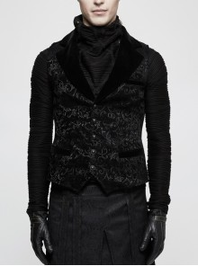 Front Retro Button Back Waist Hasp Black Gothic Jacquard Vest