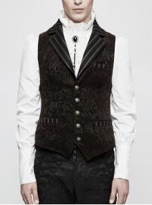 Front Retro Button Back Waist Hasp Brown Gothic Jacquard Vest