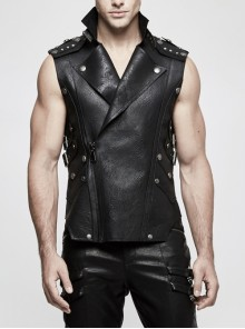 Stand-Up Collar Metal Nail Leather Hasp Decoration Black Punk Leather Vest