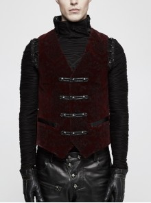 Front Woven Strap Retro Button Back Waist Leather Hasp Wine Red Gothic Velveteen Printing Vest
