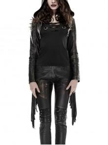 Leather Shoulder Metal Rivet Front Chest Chain Decoration Fringe Sleeve Black Punk Suede Hooded Coat