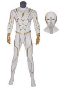 The Flash Season 5 Godspeed August Heart White Battle Suit Halloween Cosplay Costume Full Set