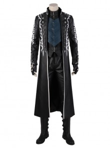 Devil May Cry 5 Vergil Black Windbreaker Suit Halloween Cosplay Costume Set Without Shoes