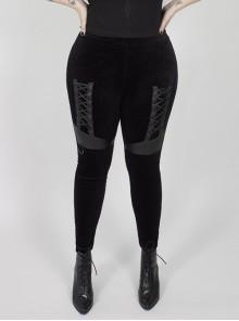 Front Splice Imitation Leather Lace-Up Black Punk Plus Size Printed Velvet Legging