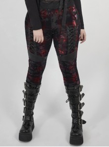 Front Splice Imitation Leather Lace-Up Classic Red Plaid Punk Plus Size Printing Legging
