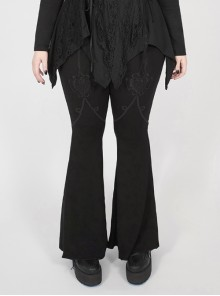 Black Gothic Plus Size Front Decals Knit Flare Pants