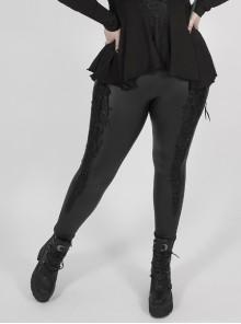 Side Ribbon Decals Black Gothic Plus Size Stretch Imitation Leather Knit Legging
