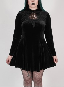 Front Chest Hollow-Out Decals Back Lace-Up Long Sleeve Black Gothic Plus Size Mercerized Velvet Dress