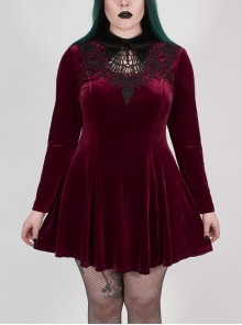 Front Chest Hollow-Out Decals Back Lace-Up Long Sleeve Wine Red Gothic Plus Size Mercerized Velvet Dress