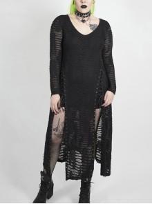Side Lace-Up Long Sleeve Split Hem Black Punk Plus Size Snake Printing Broken Holes Knit Dress