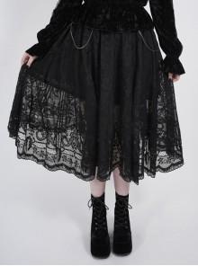 Waist D-Shaped Clasps Metal Chain Decoration Black Gothic Plus Size Lace Skirt