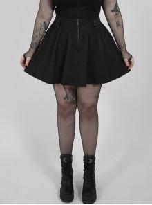 Front Decals Side D-Buckle Decoration Black Punk Plus Size Twill Short Skirt