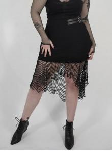 Side Leather Clasp Splice Rough Mesh Irregular Hem Black Punk Plus Size Fishtail Knit Skirt