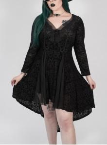 V-Neck Front Chest Decals Splice Chiffon Long Sleeve Back Waist Lace-Up Black Gothic Plus Size Velvet Dress