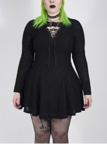 Leather Clasp Collar V-Neck Hollow-Out Back Waist Lace-Up Long Sleeve Black Punk Plus Size Broken Holes Knit Dress