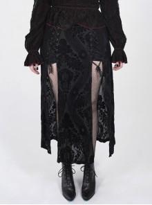 Black Gothic Plus Size Slit Hem Lace Ribbons Jacquard Velvet Skirt