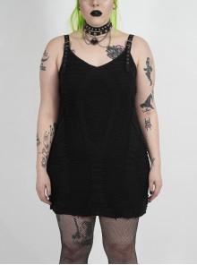 Metal Eyelets Strap Irregular Knit Black Punk Plus Size Sling Dress