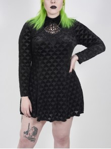 Front Chest Hollow-Out Decals Long Sleeve Back Waist Lace-Up Black Gothic Plus Size Mercerized Velvet Print Dress