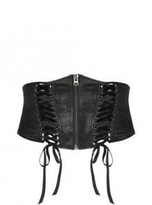 Front Metal Zipper Metal Eyelets Lace-Up Black Punk Plus Size Embossing Belt