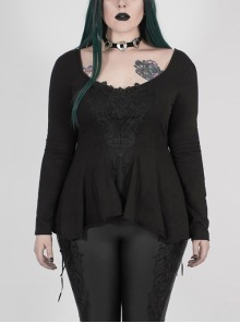 Big Round Collar Front Chest Decals Long Sleeve Back Waist Lace-Up Frill Hem Black Gothic Plus Size T-Shirt