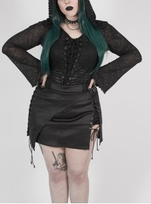 Front Chest Lace-Up Flare Sleeve Splice Mesh Black Punk Plus Size Broken Holes Knit Hooded T-Shirt
