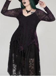 V-Neck Front Splice Rose Lace Mesh Back Waist Lace-Up Irregular Hem Purple Gothic Plus Size Knit T-Shirt