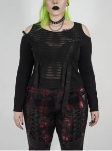 Off-Shoulder Front Chest Metal Eyelets Ribbons Long Sleeve Black Punk Plus Size Broken Holes Knit Short T-Shirt