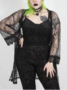 Black Punk Plus Size Front Chest Decals Velvet Camisole