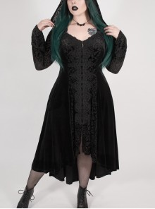 Front Chest Decals Flare Sleeve Back Waist Lace-Up Frill Hem Black Gothic Plus Size Velvet Hooded Coat