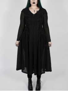 Front Chest Decals Long Sleeve Back Waist Lace-Up Black Gothic Plus Size Mesh Hooded Coat