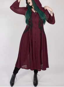 Front Chest Decals Long Sleeve Back Waist Lace-Up Wine Red Gothic Plus Size Mesh Hooded Coat