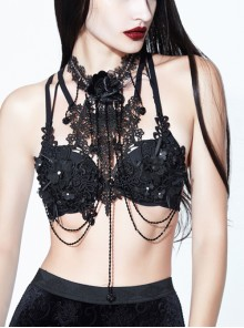 Three-Dimensional Lace Decals Metal Chain Glass Beads Decoration Black Gothic Corset