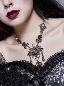 Artificial Jewel Acrylic Pearls Decoration Gold Gothic Vintage Necklace