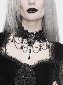 Front Diamonds Spider Web-Like Hanging Chain Beads Black Gothic Flocking Lace Necklace