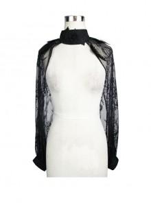 Feather Decoration Collar Long Sleeve Black Gothic Lace Shawl