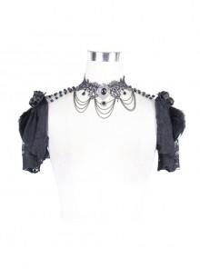 Feather Lace Short Sleeve Beaded Neck Chain Black Gothic Shawl