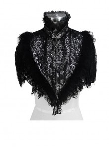High Collar Splice Feather Lace Black Gothic Jacquard Shawl