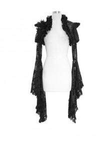 Rabbit Hair Lace Big Flare Sleeve Black Gothic Velvet Flower Shawl