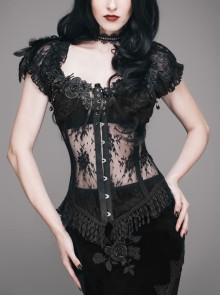 Shoulder Feather Flower Decoration Front Steel Buckle Back Waist Lace-Up Black Gothic Lace Corset