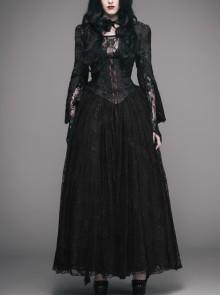 Stand-Up Collar Long Sleeve Back Waist Lace-Up Flounce Lace Big Hem Black Gothic Jacquard Coat
