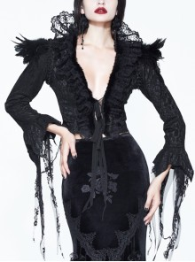 Stand-Up Collar V-Neck Front Lace-Up Lace Cuff Black Gothic Compound Flower Net Small Coat
