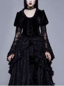 Metal Buckle Collar Front Chest Hollow-Out Flare Sleeve Lace Cuff Dress Hem Black Gothic Velvet Coat